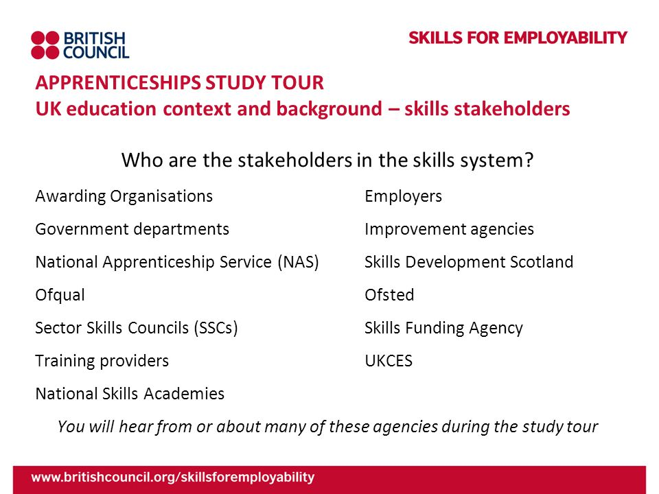 Who are the stakeholders in the skills system