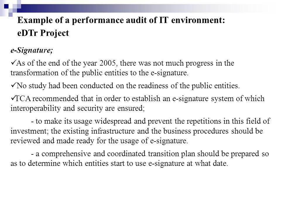Example of a performance audit of IT environment: eDTr Project