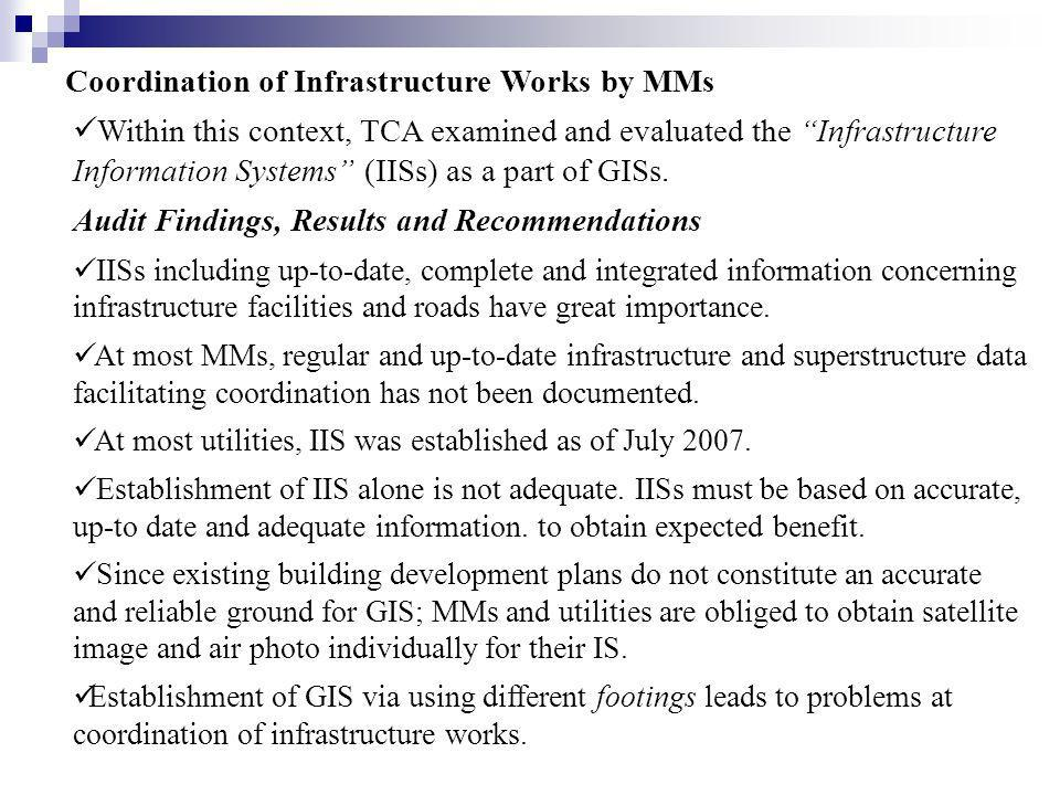 Coordination of Infrastructure Works by MMs