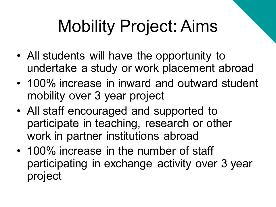 Mobility Project: Aims