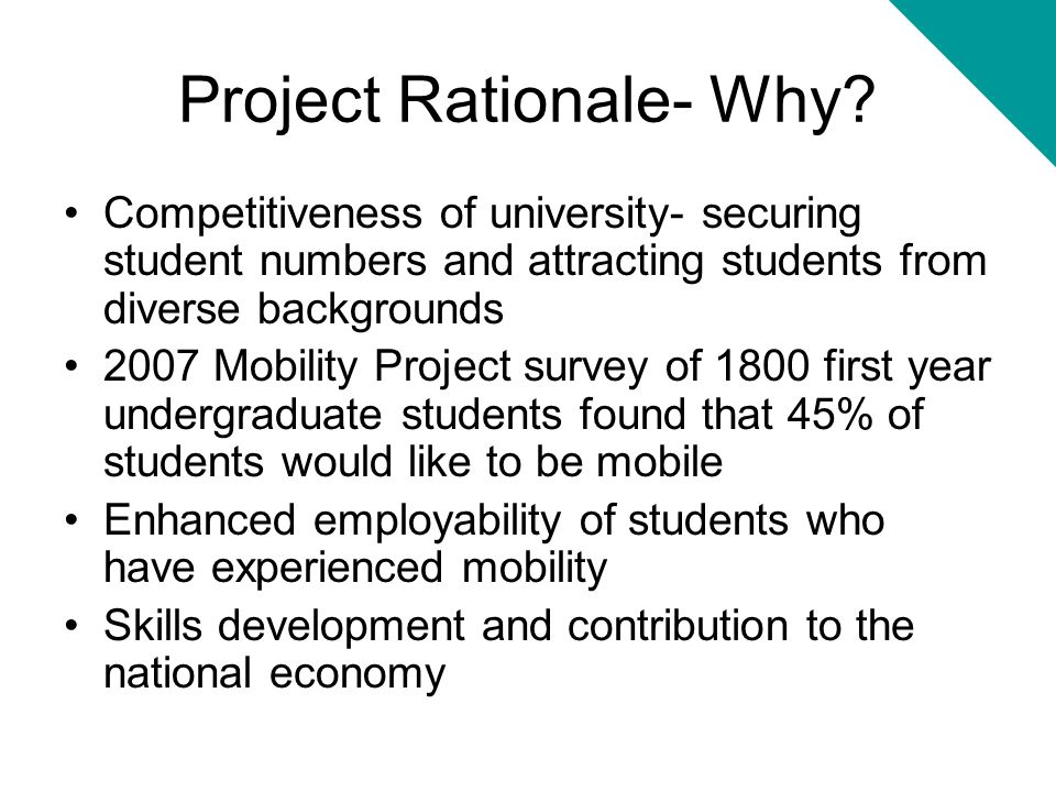 Project Rationale- Why
