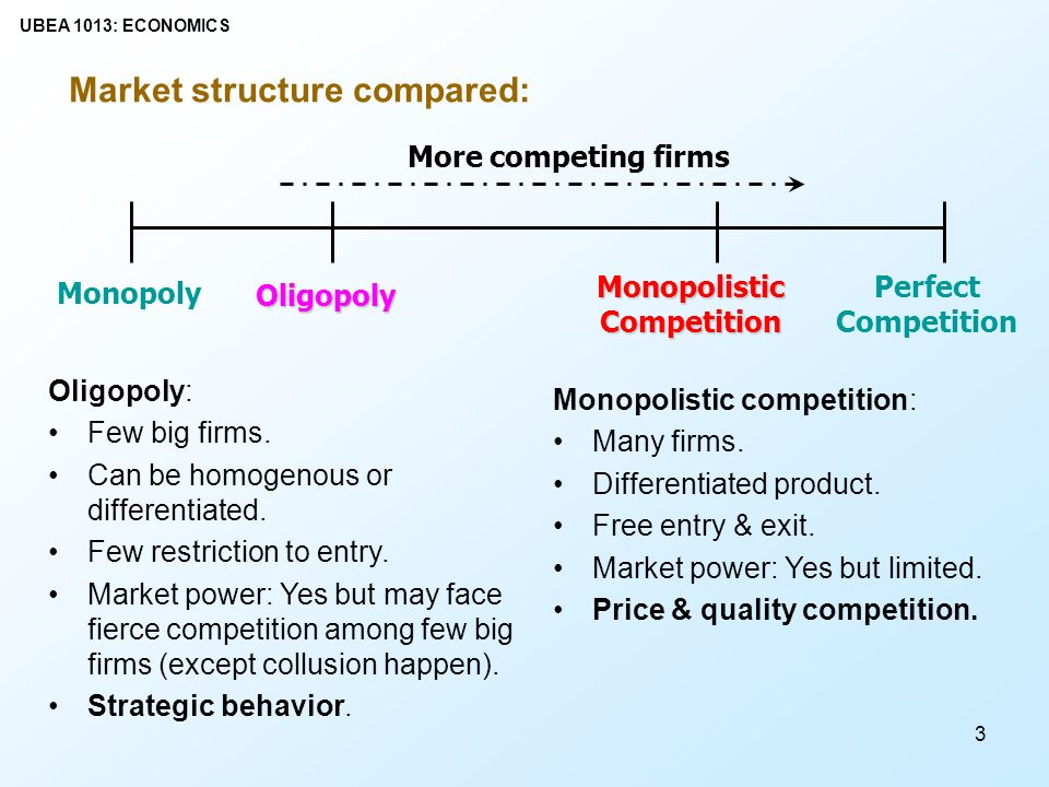 market structure competition There are several market structures in which firms can operate the type of structure influences the firm's behaviour, its efficiency and profit levels.
