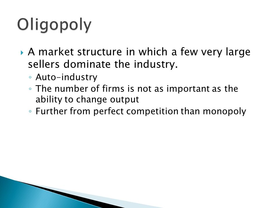 auto industry market structure An oligopoly is a market structure in which a few firms dominate, and the global automotive industry is a prime example of type the automotive industry is distinctive because of its extremely concentrated firm structure: a small number of giant companies exert an extraordinary amount of power over.