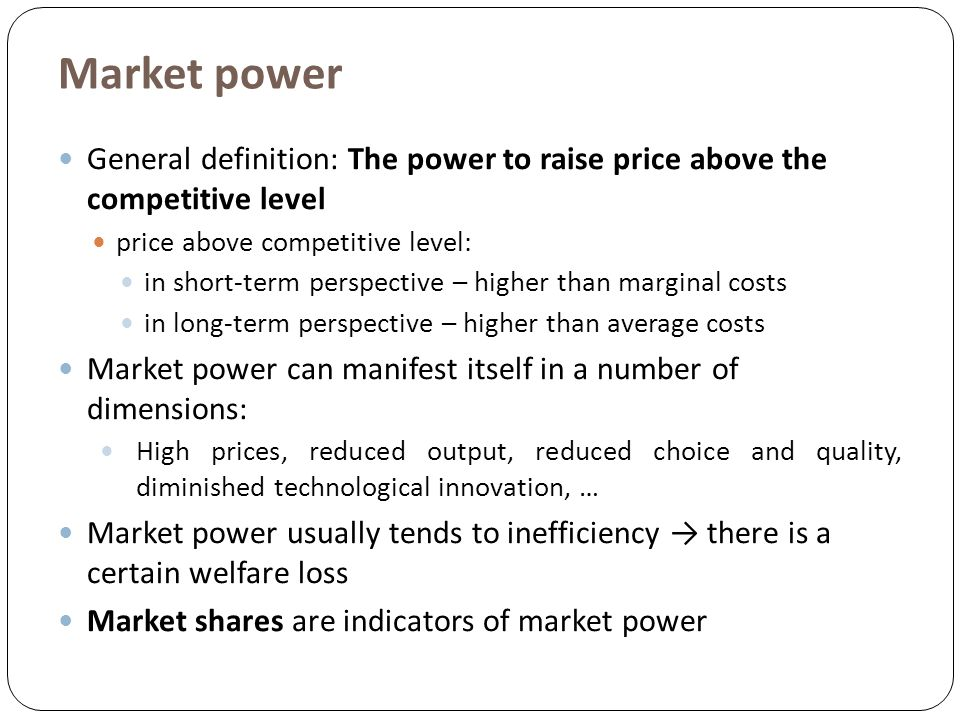 antitrust pactices and market power Be allowed to engage in the same practices as non-dominant firms  in  competition law the dominant position is accepted, that is, an undertaking having  a.