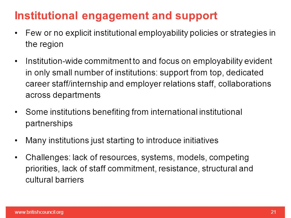 Institutional engagement and support