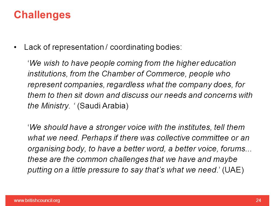 Challenges Lack of representation / coordinating bodies: