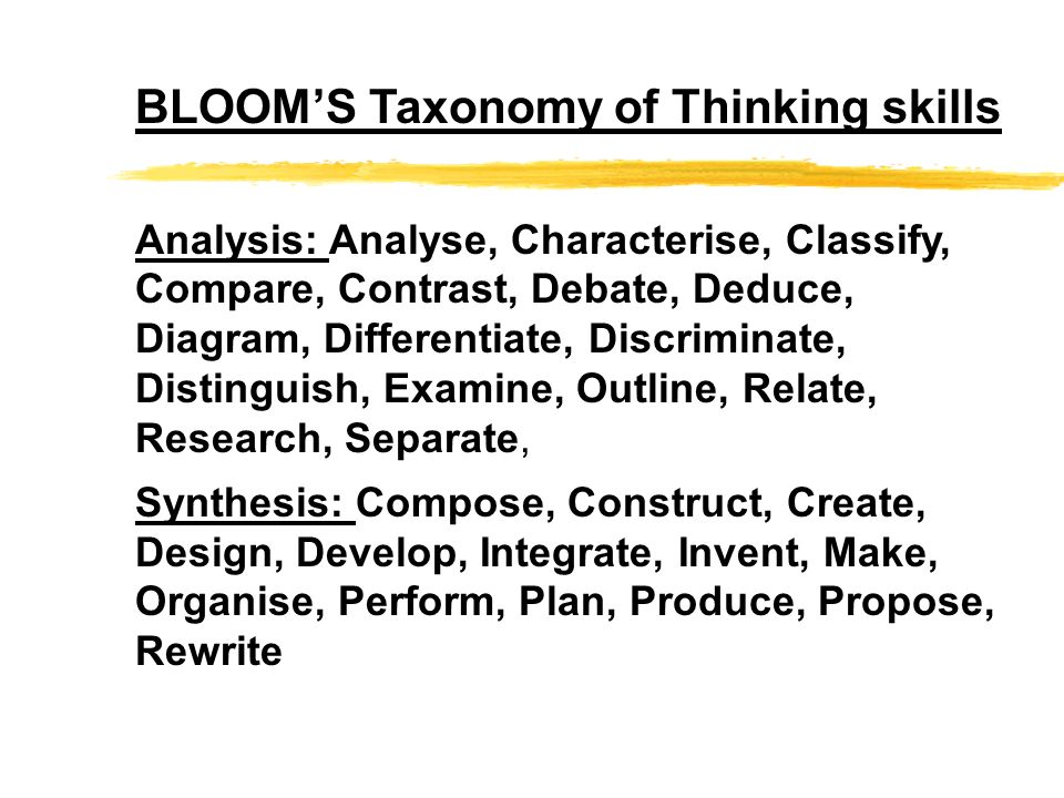 BLOOM'S Taxonomy of Thinking skills
