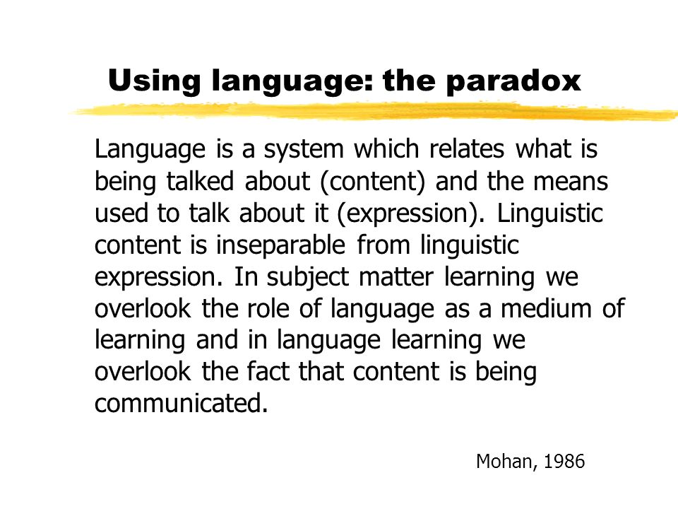 Using language: the paradox