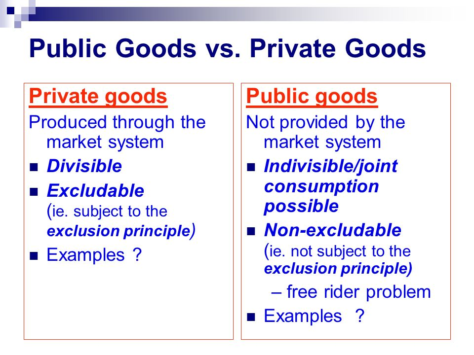 Public Goods vs. Private Goods