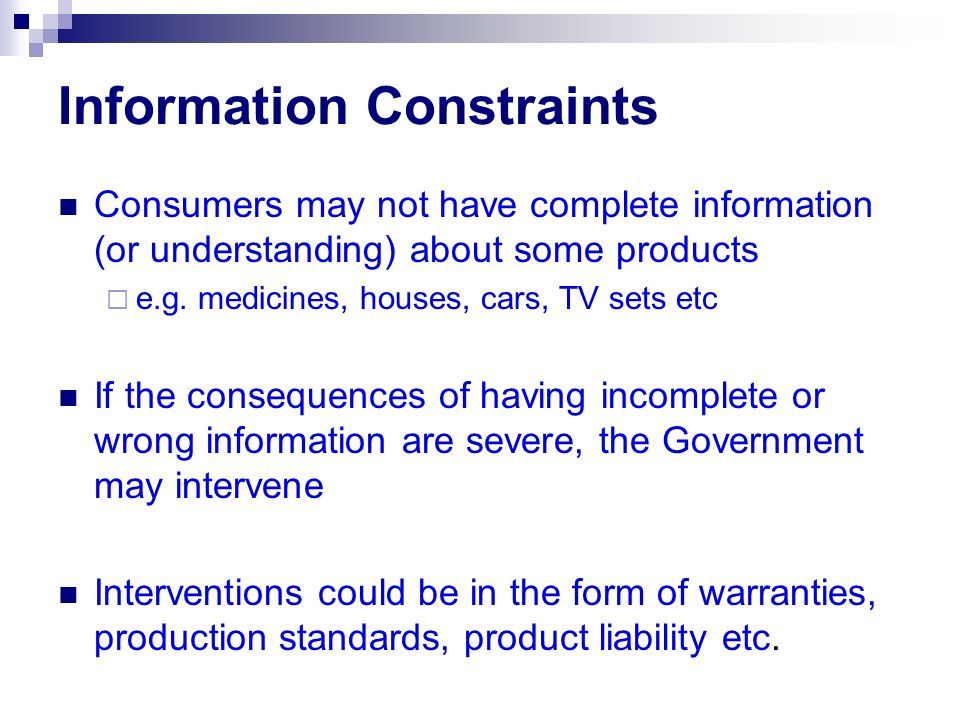 Information Constraints