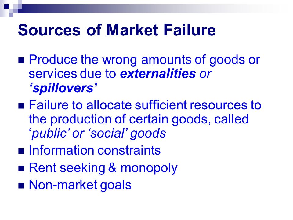 Sources of Market Failure