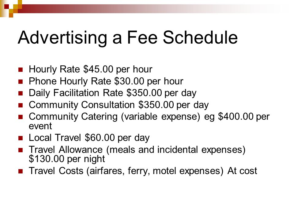 Advertising a Fee Schedule