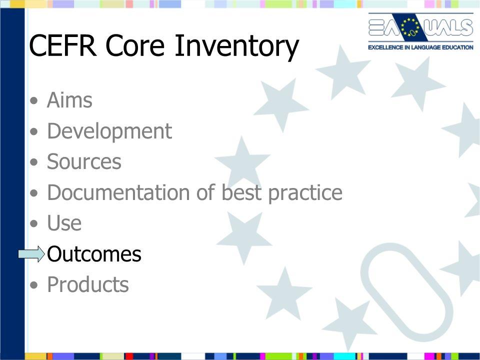 CEFR Core Inventory Aims Development Sources