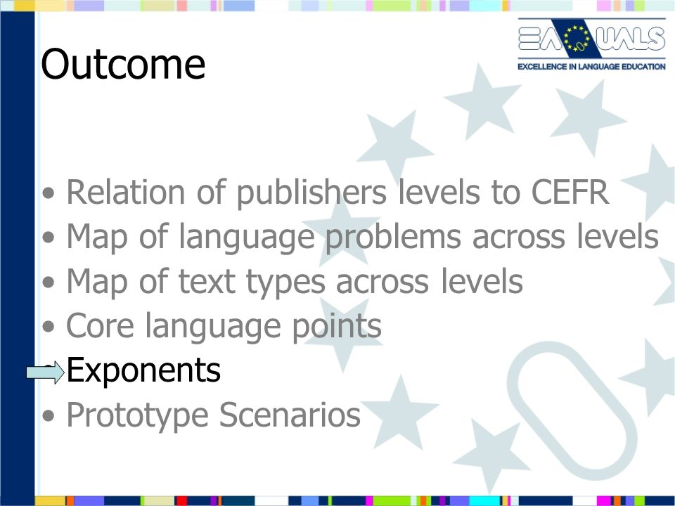 Outcome Relation of publishers levels to CEFR