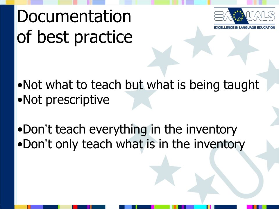 Documentation of best practice