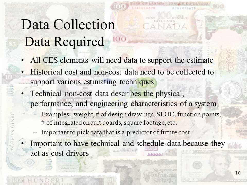 Data Collection Data Required