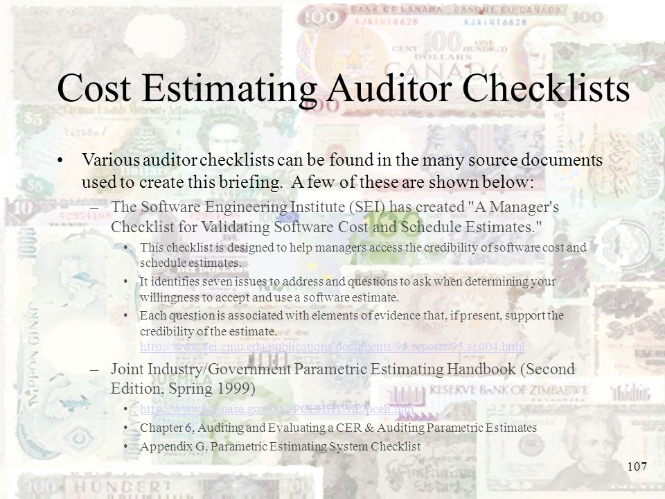 Cost Estimating Auditor Checklists