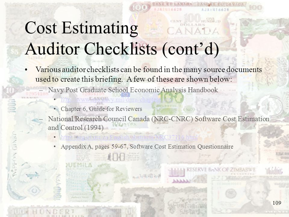Cost Estimating Auditor Checklists (cont'd)