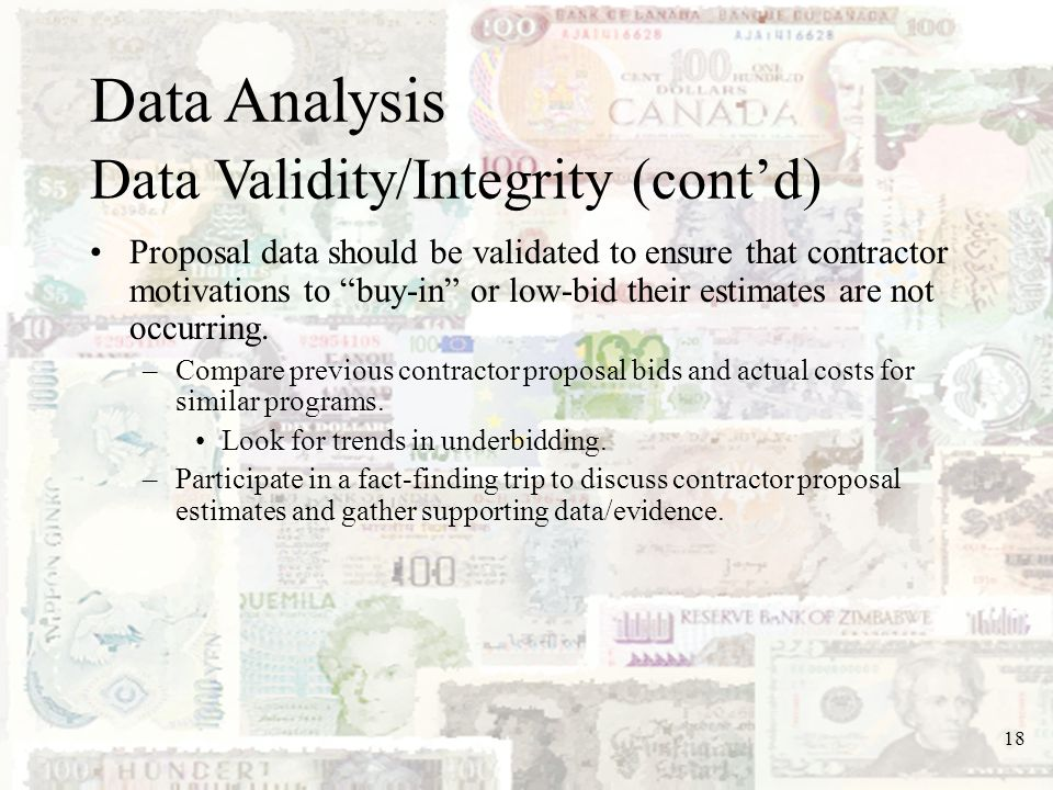 Data Analysis Data Validity/Integrity (cont'd)