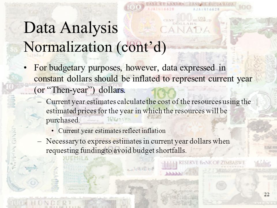 Data Analysis Normalization (cont'd)