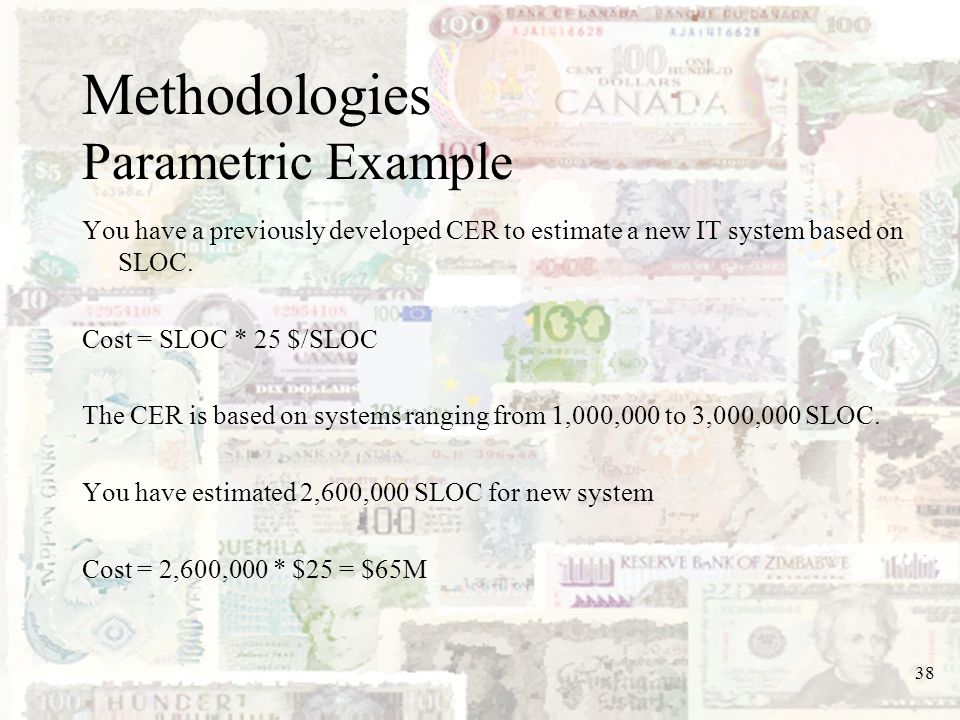 Methodologies Parametric Example