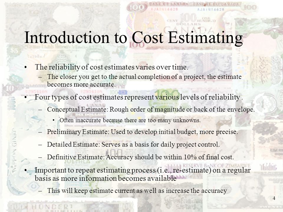 Introduction to Cost Estimating