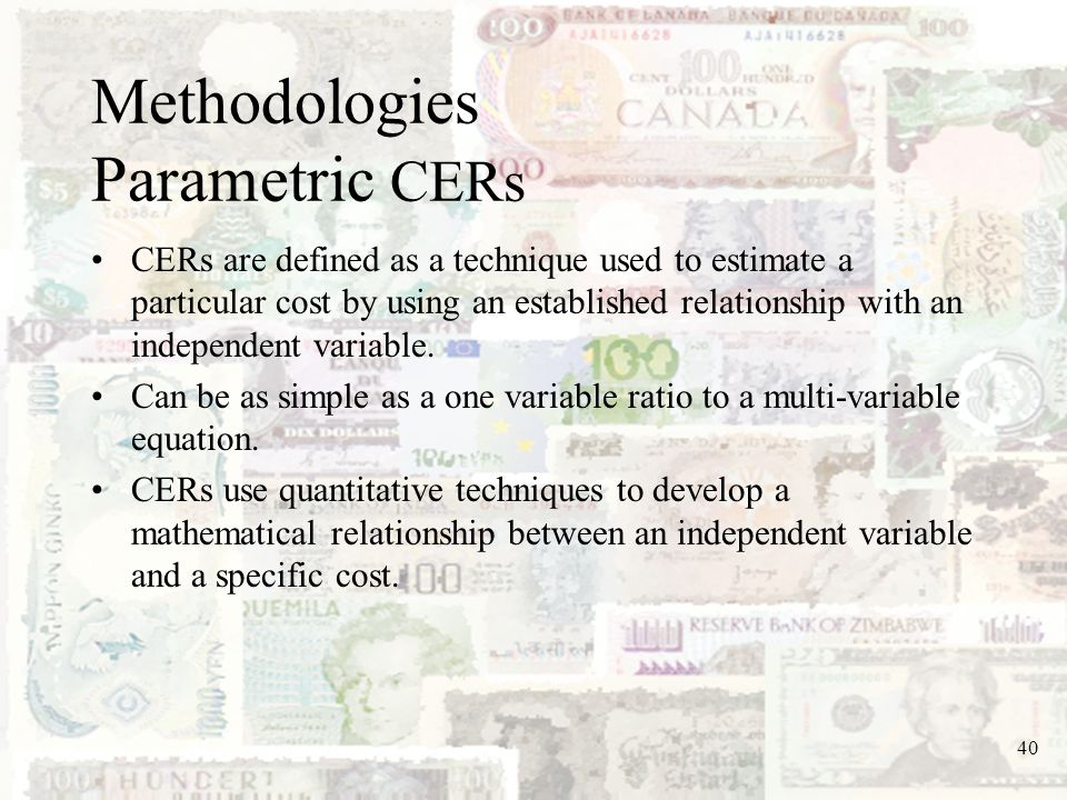 Methodologies Parametric CERs
