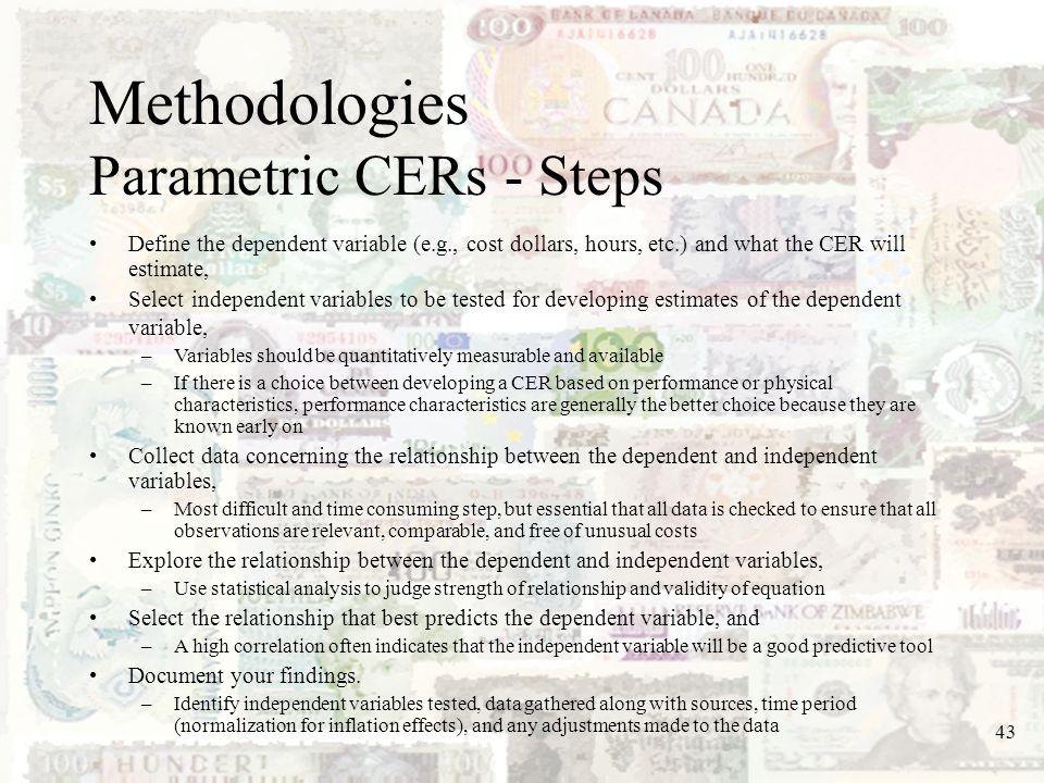 Methodologies Parametric CERs - Steps