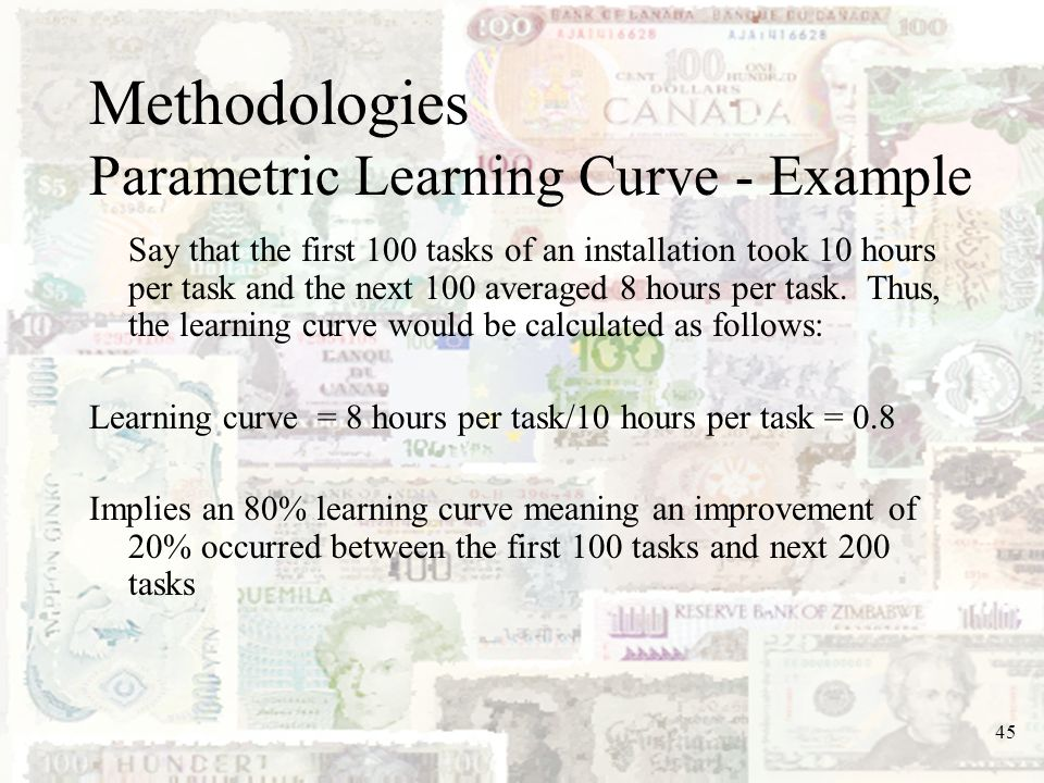 Methodologies Parametric Learning Curve - Example