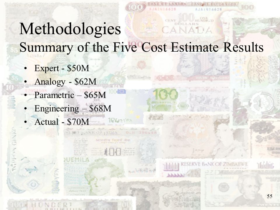 Methodologies Summary of the Five Cost Estimate Results