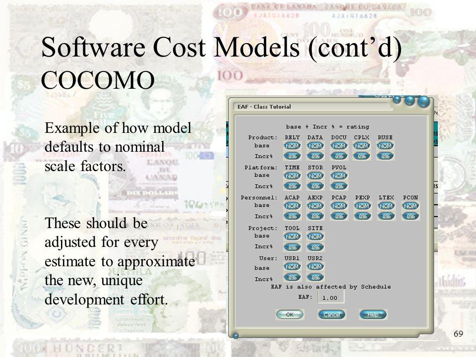 Software Cost Models (cont'd) COCOMO