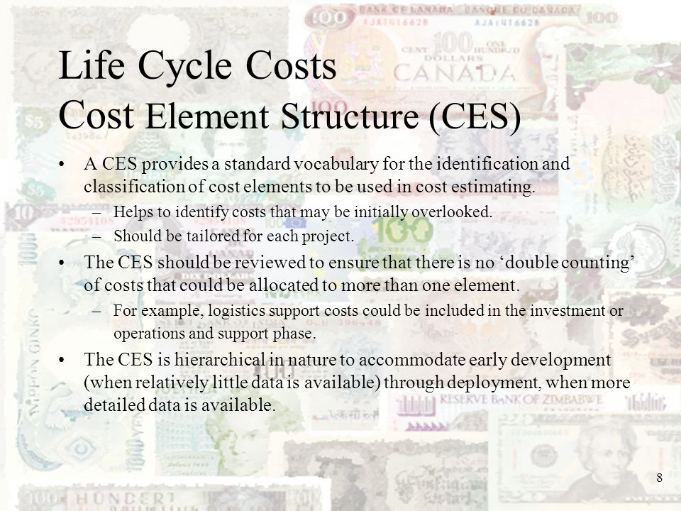 Life Cycle Costs Cost Element Structure (CES)