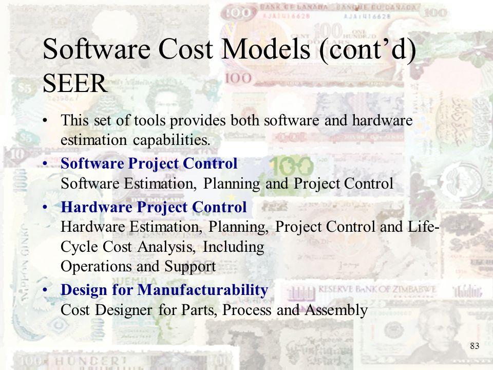 Software Cost Models (cont'd) SEER