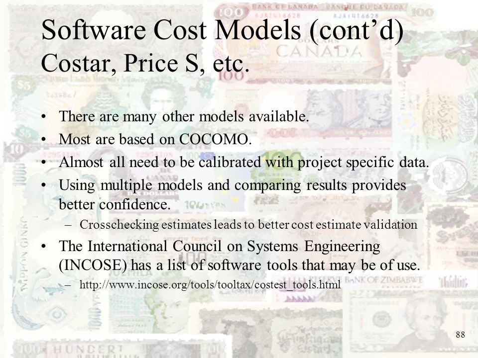 Software Cost Models (cont'd) Costar, Price S, etc.