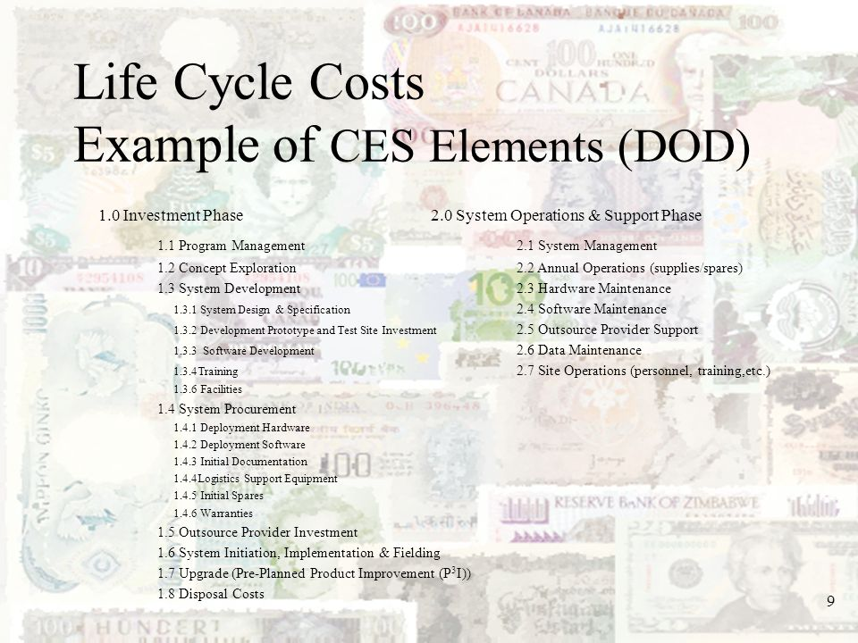 Life Cycle Costs Example of CES Elements (DOD)