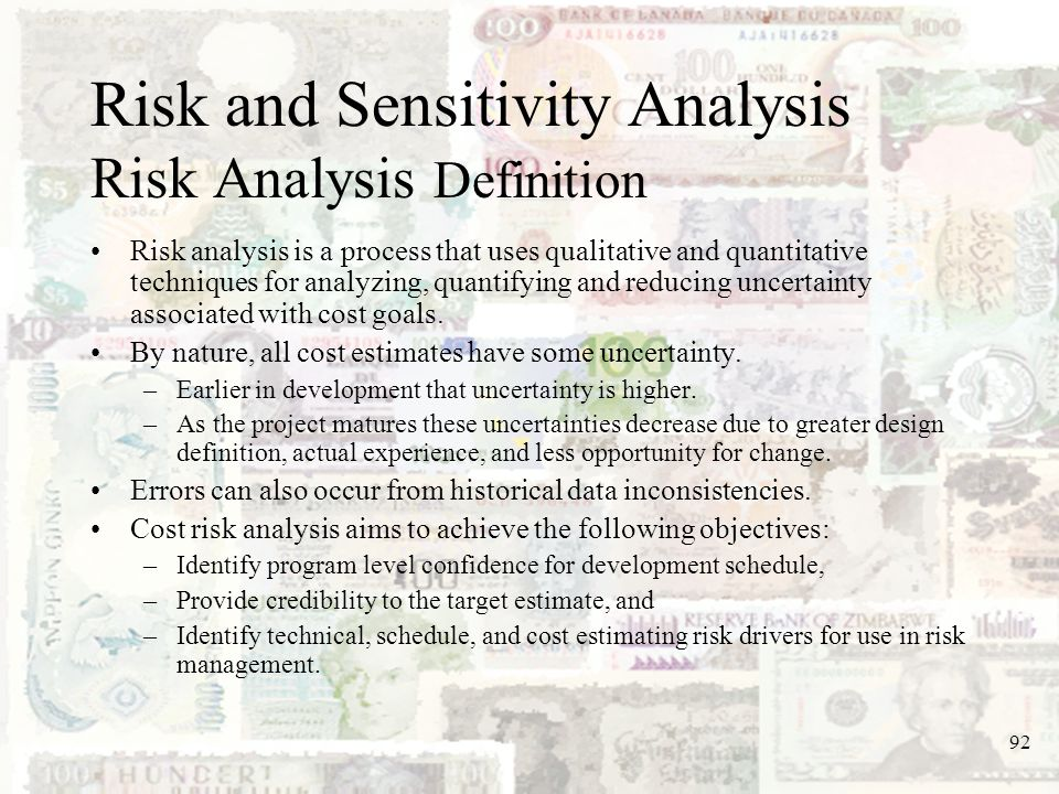 Risk and Sensitivity Analysis Risk Analysis Definition