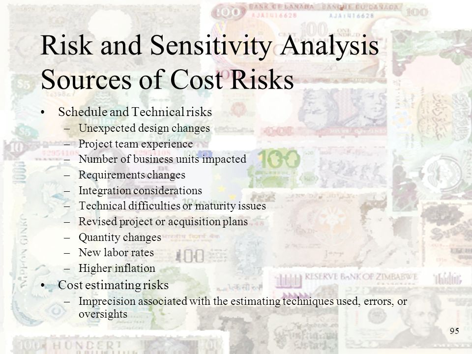 Risk and Sensitivity Analysis Sources of Cost Risks