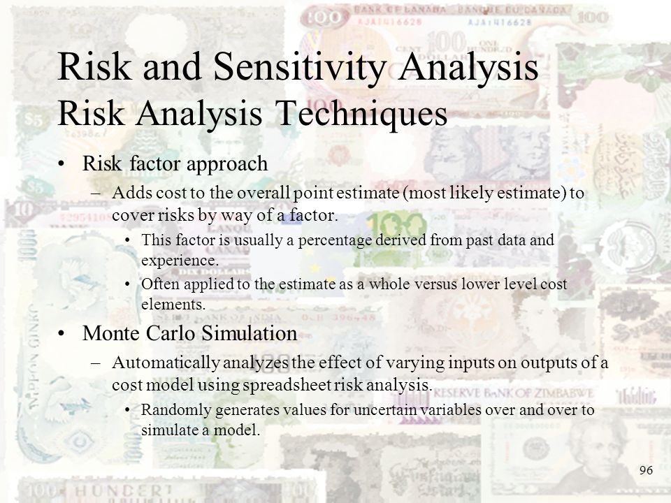 Risk and Sensitivity Analysis Risk Analysis Techniques