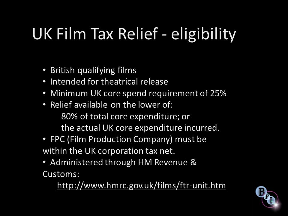 UK Film Tax Relief - eligibility