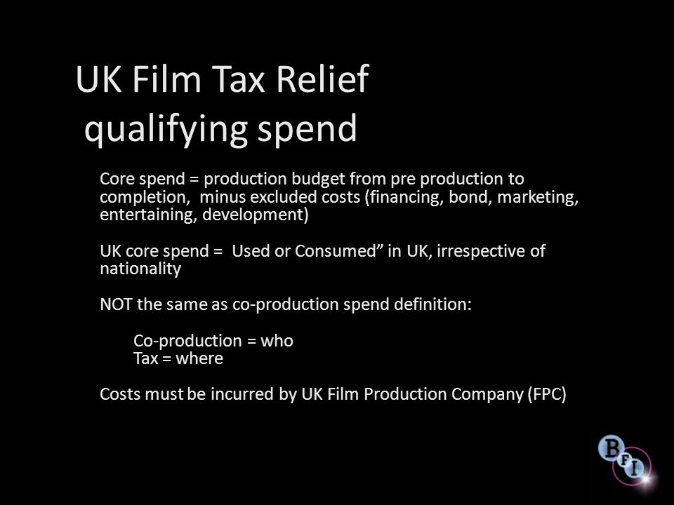 UK Film Tax Relief qualifying spend