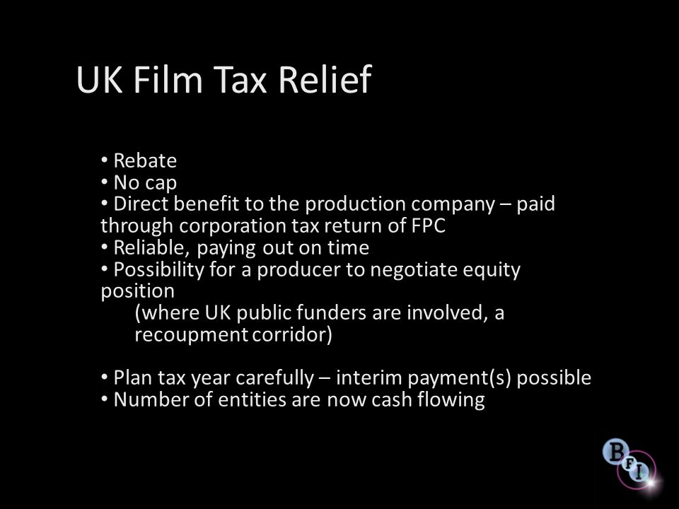UK Film Tax Relief Rebate No cap