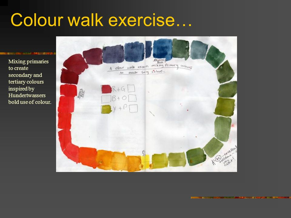 Colour walk exercise…Mixing primaries to create secondary and tertiary colours inspired by Hundertwassers bold use of colour.
