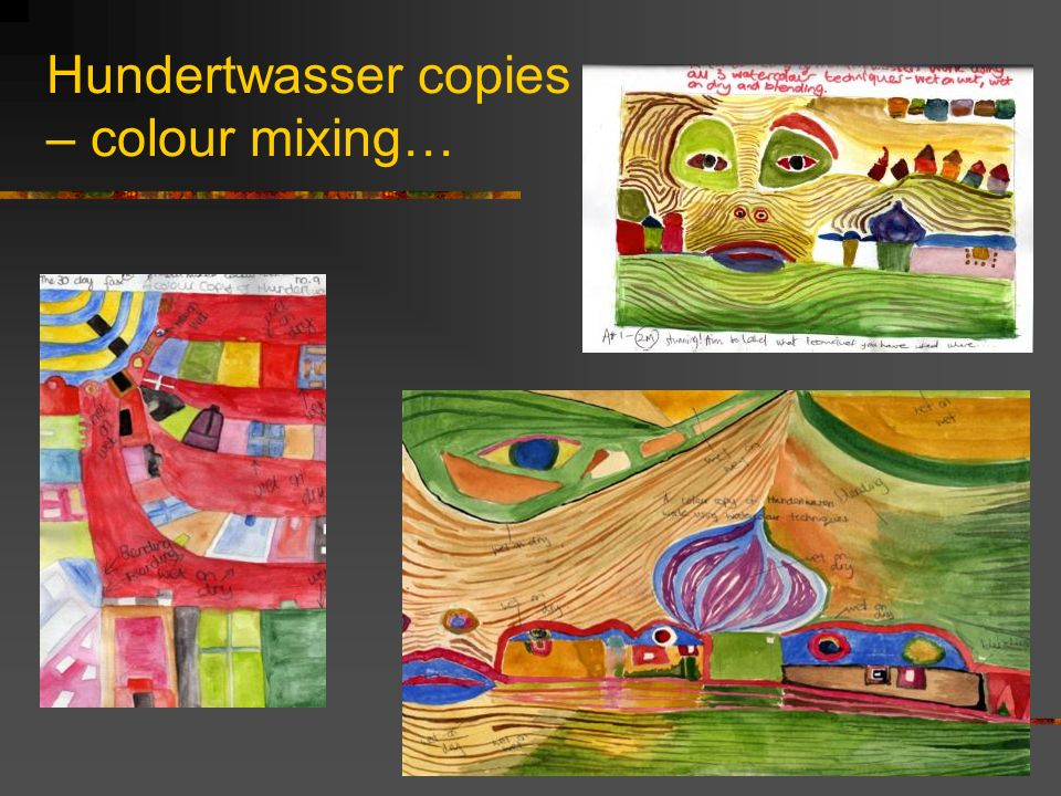 Hundertwasser copies – colour mixing…