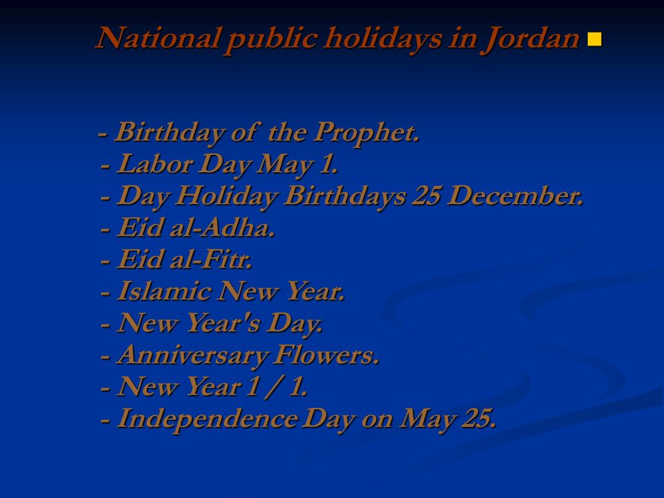 National public holidays in Jordan