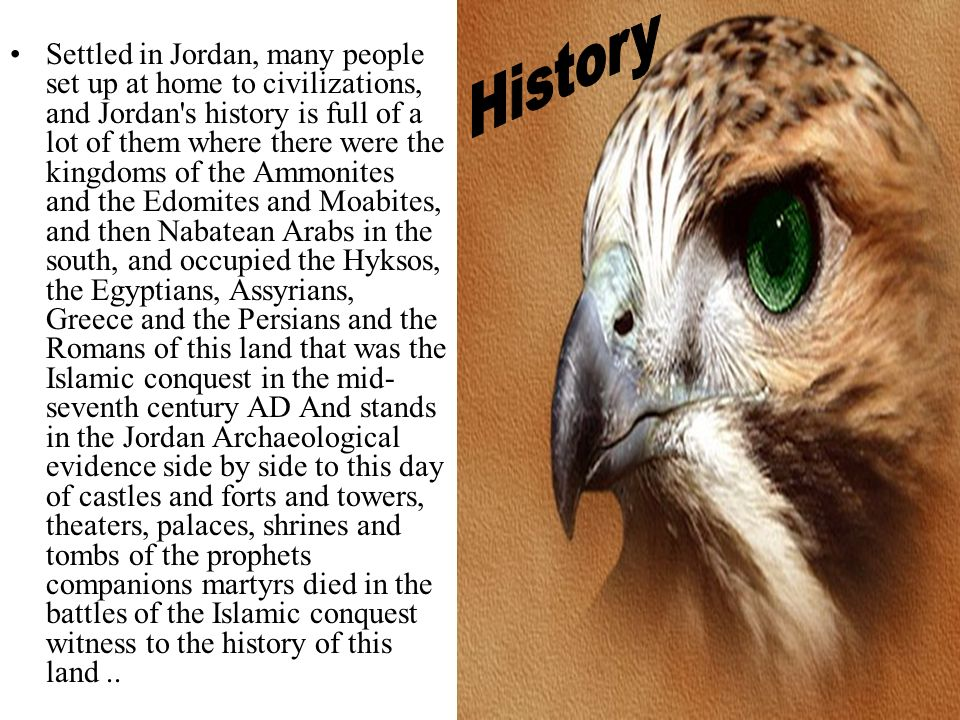 Settled in Jordan, many people set up at home to civilizations, and Jordan s history is full of a lot of them where there were the kingdoms of the Ammonites and the Edomites and Moabites, and then Nabatean Arabs in the south, and occupied the Hyksos, the Egyptians, Assyrians, Greece and the Persians and the Romans of this land that was the Islamic conquest in the mid-seventh century AD And stands in the Jordan Archaeological evidence side by side to this day of castles and forts and towers, theaters, palaces, shrines and tombs of the prophets companions martyrs died in the battles of the Islamic conquest witness to the history of this land ..