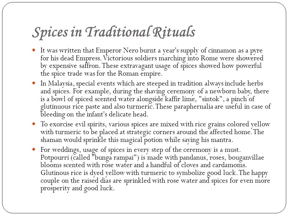 Spices in Traditional Rituals