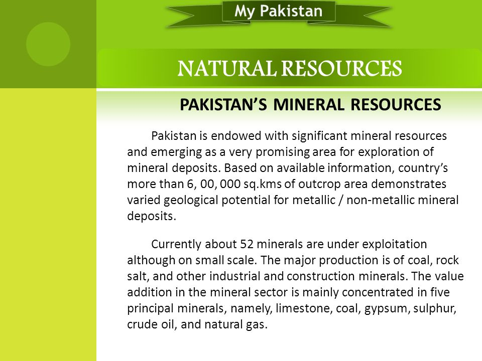 PAKISTAN'S MINERAL RESOURCES