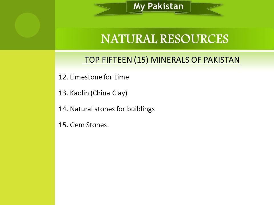 TOP FIFTEEN (15) MINERALS OF PAKISTAN