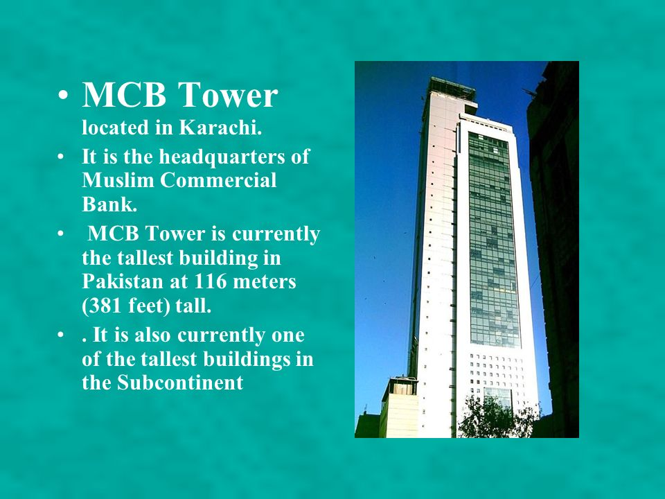 MCB Tower located in Karachi.