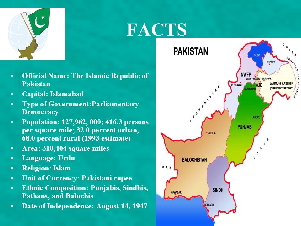 FACTS Official Name: The Islamic Republic of Pakistan
